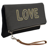 Love Typography Elegant Black and Gold Look Clutch