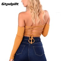 Gtpdpllt Sexy Off Shoulder T Shirt Back lace-up Women Crop Tops 2018 Autumn Long Sleeve Hollow Out Party Cropped Tees Shirts