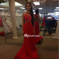 Red Halter Cut Out Waist Prom Dress , Lace Appliques Bodice Gown With Open Back