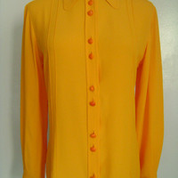 GIANNI VERSACE Versus Made in Italy Shiny Bright Orange Yellow Front Button-Down Long Sleeve Silk Rayon Blouse Top Shirt Tunic Size 26 40 S