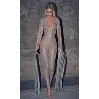 Nearly Naked Glitter Striped Nude Silver Plunge V Neck Flare Sleeve Bodycon Jumpsuit - Sold Out