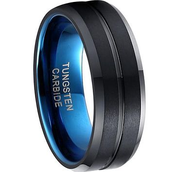 Black Engagement Rings Black Blue Tungsten Carbide Center  Groove Ring