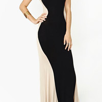 Patchwork Round Neck Floor-Length Dress