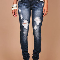 Shadow Torn Skinny Jeans - Skinny Jeans at Pinkice.com
