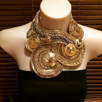 GALAXIES gold statement bib collage necklace