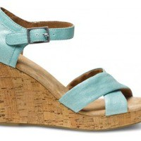 Turquoise Metallic Linen Strappy Wedges | TOMS.com