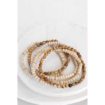Semi Precious and Wooden Bracelet set