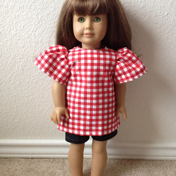 Red Plaid Picnic Shirt: fits most 18 in dolls