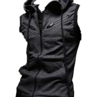 Mens Casual Top Designed Slim Fit Hooded Hoodies Vest Waistcoat Coat Jacket