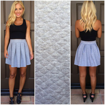 Finders Keepers Quilted Flare Skirt - GREY