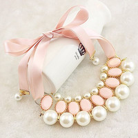 Choker Necklace Ladies Pearl Bib  Statement Pendant  Jewelry 5 Colors Hot Lovely Christmas Gift