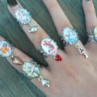 Alice charm rings,alice rings,cosplay midi ring,choose one