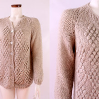 Vintage 40s 50s - Tan Beige Chunky Ball Hand Knit - Button Up Wool Mohair Paglia Cardigan Sweater - Made in Italy