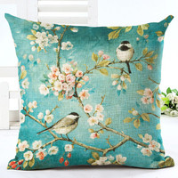 MYJ 2016 Home Decor Flowers and Birds Printed American Village Style Cushion Linen Cojines Square Throw Pillow print your name