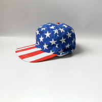 80s American Flag Baseball Hat Vintage Red White Blue Stars and Stripes Mens Womens Hats O/S One Size 1980s Patriotic Hipster Snapback Cap