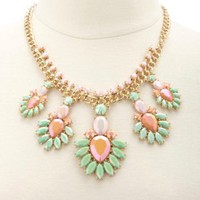 Faceted Flower Statement Necklace by Charlotte Russe - Multi