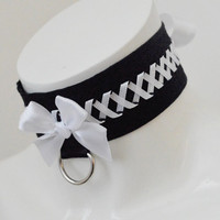 French maid collar - Cute Florette - kitten play choker - bdsm proof cosplay costume choker adult lolita gear - black and white cute sexy