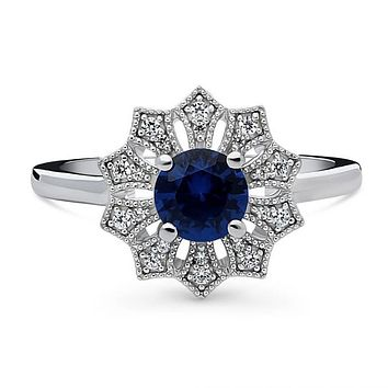 Art Deco Milgrain Blue Holiday Floral Ring