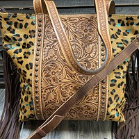 Huge Leopard Cowhide with Turquoise Acidwash Tooled Purse