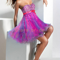 beautiful blue tulle cocktail dresses / beaded cocktail dresses / cute prom dresses/cocktail dresses