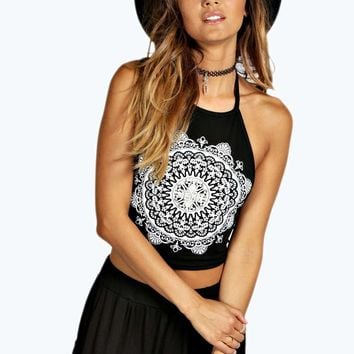 Bonnie Ethnic Print Halter Tie Crop Top