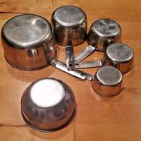 Vintage  5Pc FOLEY Stainless Steel Measuring Cups 1/4C to rare 2C  bonus prepcup