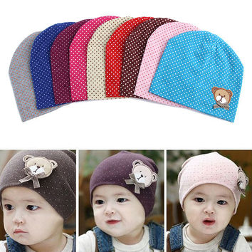 2017 Dot Pattern Baby Hat Winter Knitted Baby Beanies For Child Kids Boys Girls Toddler Cotton Cap Infants Hat