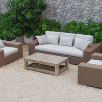 Renava Pelican Outdoor Beige Wicker Sofa Set