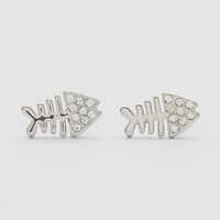 Rhodium Fishbone Earrings