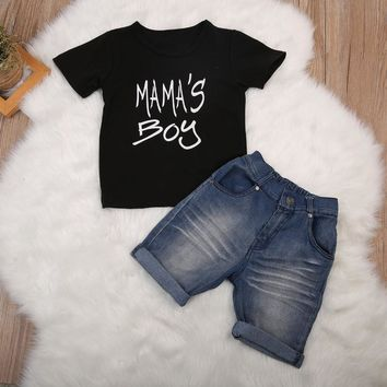 Toddler Boy Shirt + Denim Short Sets