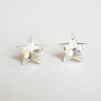 Shiny Star Crystal Rhinestone Sterling Silver Ears Post - 925 Sterling Silver Stud Earrings Dassling Bridesmaid Wedding Gift Mother Gift