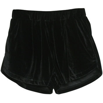 ROMWE | High Waist Drape Black Velour Shorts, The Latest Street Fashion
