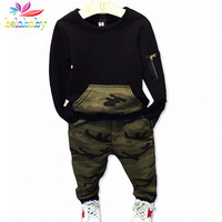 Belababy Boys Clothing Sets Baby Spring Sports Casual Long Sleeve Shirt+Pants Kids 2PCS Camouflage Clothes Set For Boys