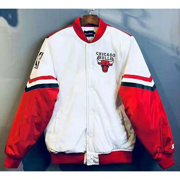 CHICAGO BULLS Winter Popular Men Women Cool Hip Hop Cardigan Cotton Jacket Coat Windbreaker White