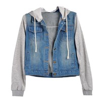 FINEJO Women's Denim Hoodie Outerwear Hooded Jeans Coat Jacket