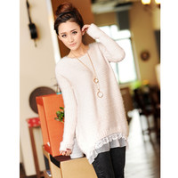 Knited Sweater with Lace Rim for Women