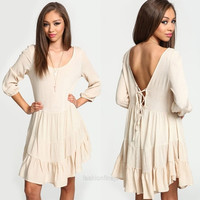 Womens Pleated Backless Asymmetric Crew Neck Cocktail Evening Party Dress  F_F = 1904644164
