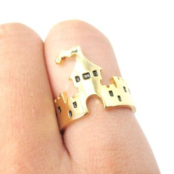 Princess Castle Shaped Ring in Gold   DOTOLY