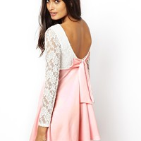 Club L Long Sleeve Lace Dress with Bow Back