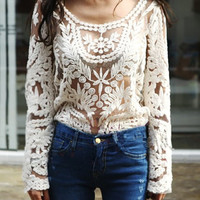 embroidery floral lace crochet womens blouse for summer