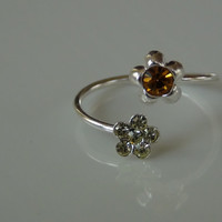 Sterling Silver 925 Adjustable Toe Ring with Flower Design and Green Orange Crystal Stones