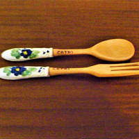 Vintage 1960s Capri Salad Server Set Wood with Porcelain Handles / Hand Made with Hand Painted Floral Design / Retro Fork and Spoon