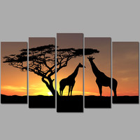 Big size 5 pcs animal living room Decoration giraffes falling sun Canvas printed Painting on wall Hanging home decor unframed
