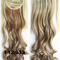 Curly synthetic hair extension,Ribbon ponytail synthetic hair extension Clip In on Hair Pony,Wavy Hairpiece,woman wigs,wig hairs,Accessories,Bath & Beauty RP-888 F12/613