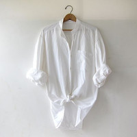vintage natural white shirt. oversized cotton button down shirt. modern minimalist. boyfriend shirt.