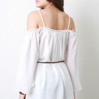 Belted Boho Cut Out Shoulder Dress