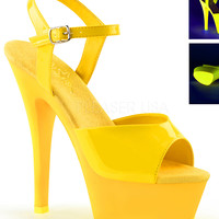 Neon Yellow Ankle Strap Sandle With 6 Inch Heels-Rave Shoes