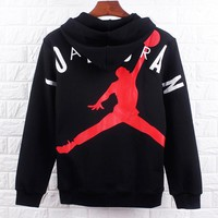 Jordan New fashion people letter print couple hooded long sleeve sweater Black