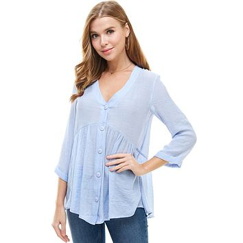 Solid Button Down3/4 Sleeves Babydoll Blouse