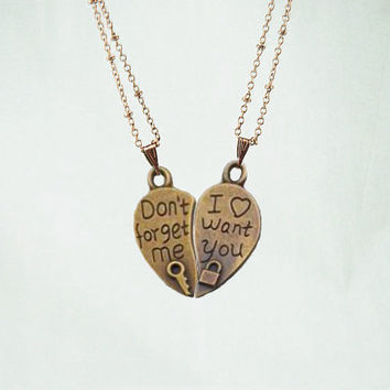 Necklace 068: Lover Necklace, Lock and Key Puzzle necklace, Don't Forget Me I Want You Necklace, Personalized Charm Jewelry Friendship Gift